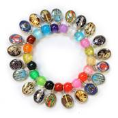 Bracelet with Medals, multicolored pearls